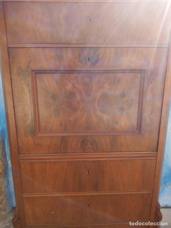 Antigüedades: antiguo SECRETAIRE estilo luis xiii ,madera maciza de nogal,interior con cajones con marquetería. - Foto 15 - 193649223