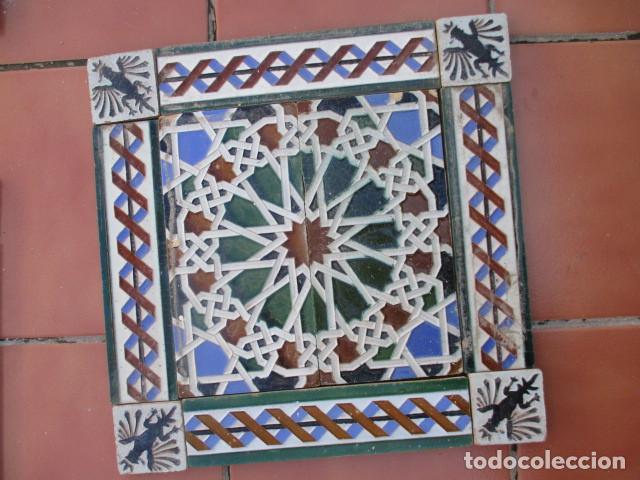 COMPOSICION DE AZULEJOS TRIANA MENSAQUE (Antigüedades - Porcelanas y Cerámicas - Azulejos)