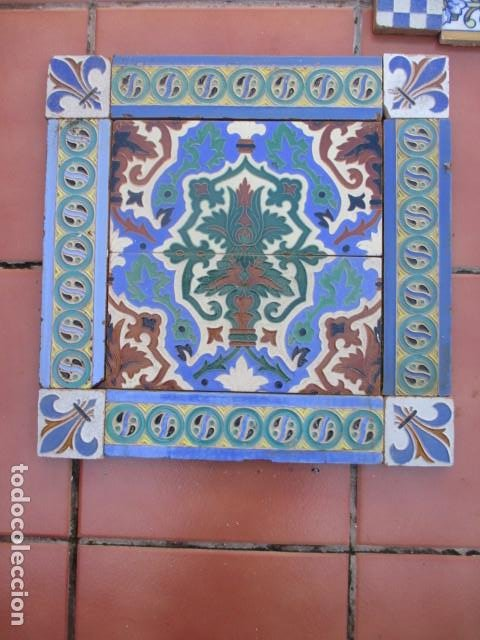 COMPOSICION DE AZULEJOS RAMOS REJANO (Antigüedades - Porcelanas y Cerámicas - Azulejos)