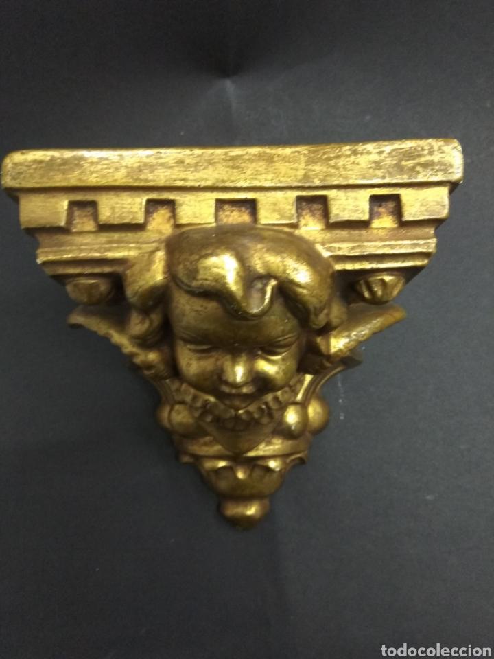 Antigüedades: MÉNSULA QUERUBÍN ANGEL DORADO ESTUCO Y MADERA PIGMALION BARCELONA BELLA PIEZA PARA ALTAR - Foto 3 - 193741162