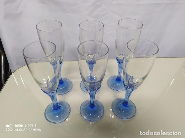 Antigüedades: Juego de 6 copas de cristal. - Foto 2 - 193752666