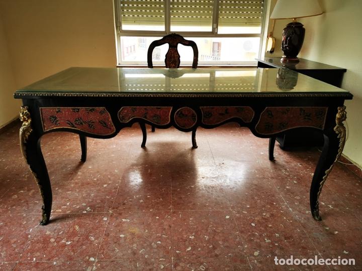 Antigüedades: Maravilloso escritorio estilo Luís XVI negro, en madera maciza de haya. - Foto 2 - 193762061