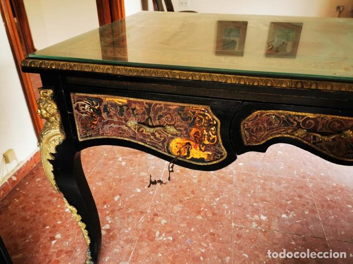Antigüedades: Maravilloso escritorio estilo Luís XVI negro, en madera maciza de haya. - Foto 4 - 193762061