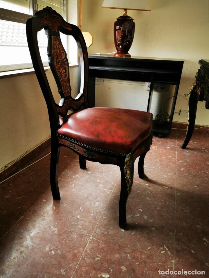 Antigüedades: Maravilloso escritorio estilo Luís XVI negro, en madera maciza de haya. - Foto 5 - 193762061