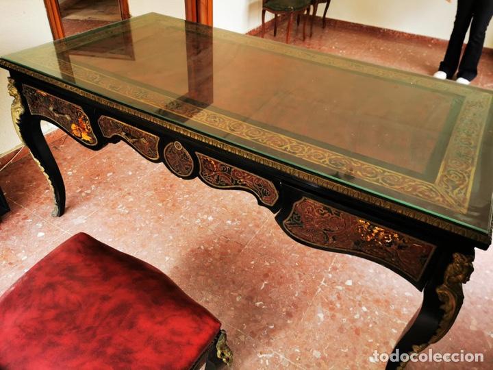 MARAVILLOSO ESCRITORIO ESTILO LUÍS XVI NEGRO, EN MADERA MACIZA DE HAYA. (Antigüedades - Muebles Antiguos - Mesas de Despacho Antiguos)