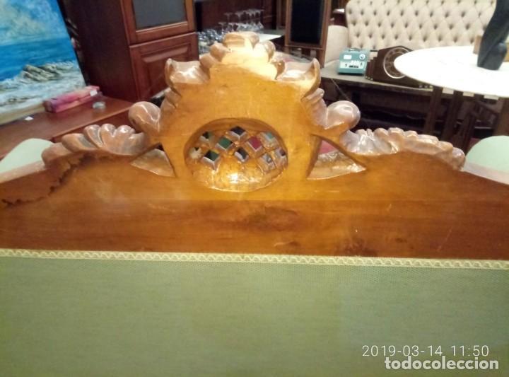 Antigüedades: SOFA ANTIGUO EN MADERA DE ROBLE TALLADA Y TAPIZADO - Foto 6 - 193770735
