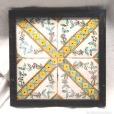 Antigüedades: CERAMICA POPULAR CATALANA S XVIII PLAFÓN 4 AZULEJOS, SERIE ESCALETA. Lote 226647860