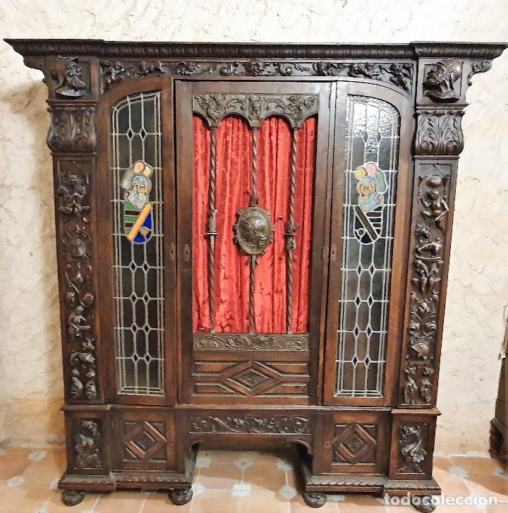 ANTIGUA LIBRERIA NOGAL ESTILO ESPAÑOL (Antigüedades - Muebles Antiguos - Auxiliares Antiguos)