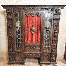 Antigüedades: ANTIGUA LIBRERIA NOGAL ESTILO ESPAÑOL. Lote 193781488