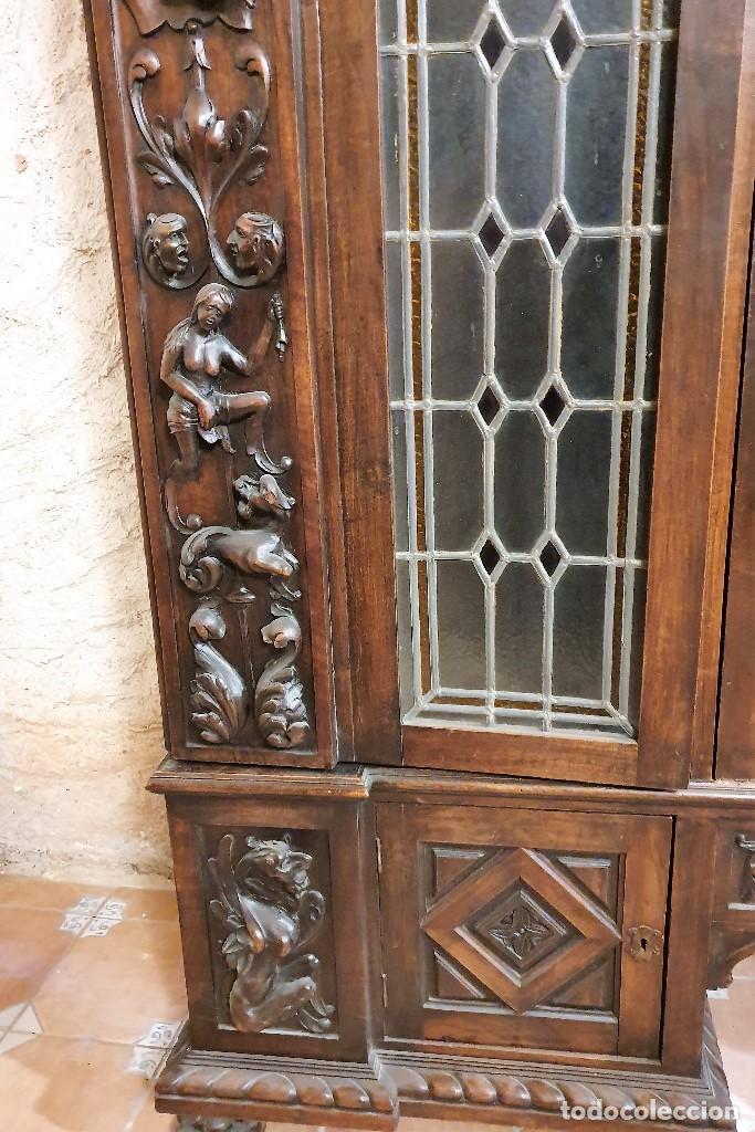 Antigüedades: ANTIGUA LIBRERIA NOGAL ESTILO ESPAÑOL - Foto 6 - 193781488