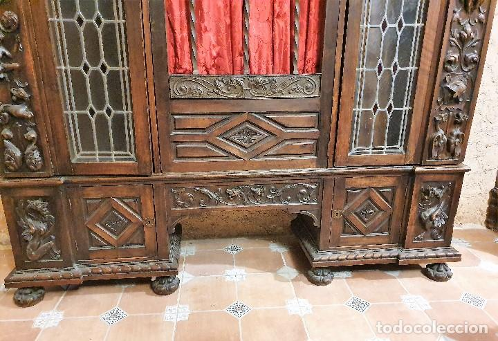 Antigüedades: ANTIGUA LIBRERIA NOGAL ESTILO ESPAÑOL - Foto 7 - 193781488