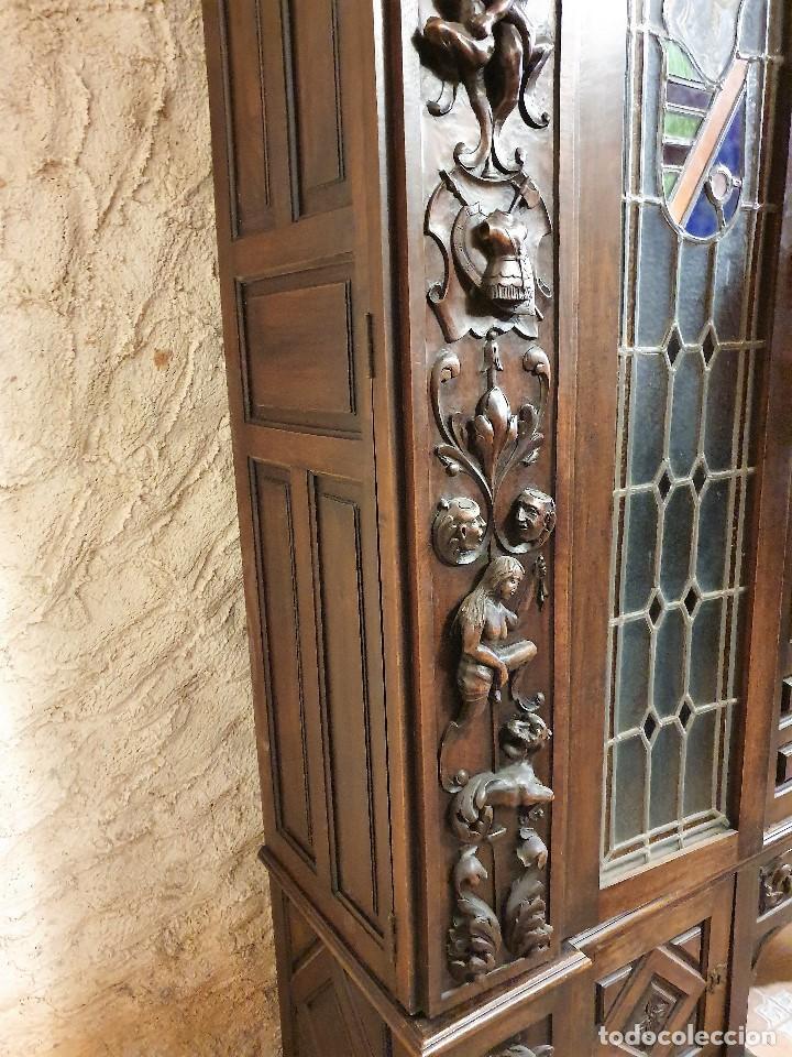 Antigüedades: ANTIGUA LIBRERIA NOGAL ESTILO ESPAÑOL - Foto 9 - 193781488