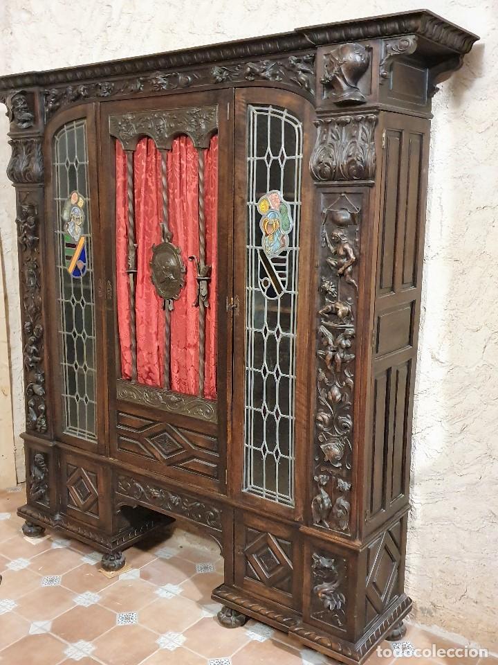 Antigüedades: ANTIGUA LIBRERIA NOGAL ESTILO ESPAÑOL - Foto 11 - 193781488