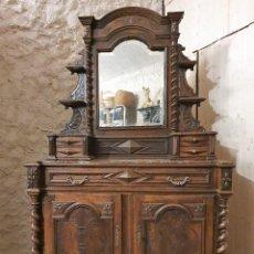 Antigüedades: ATIGUA COMODA APARADOR CON ESPEJO JOYERO SALOMONICO. Lote 193781861