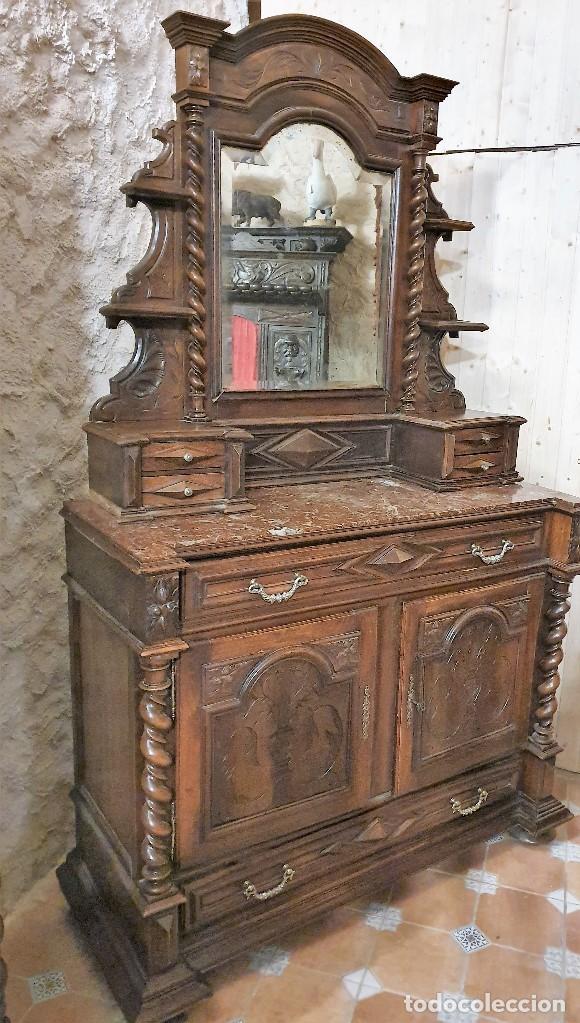 Antigüedades: ATIGUA COMODA APARADOR CON ESPEJO JOYERO SALOMONICO - Foto 4 - 193781861