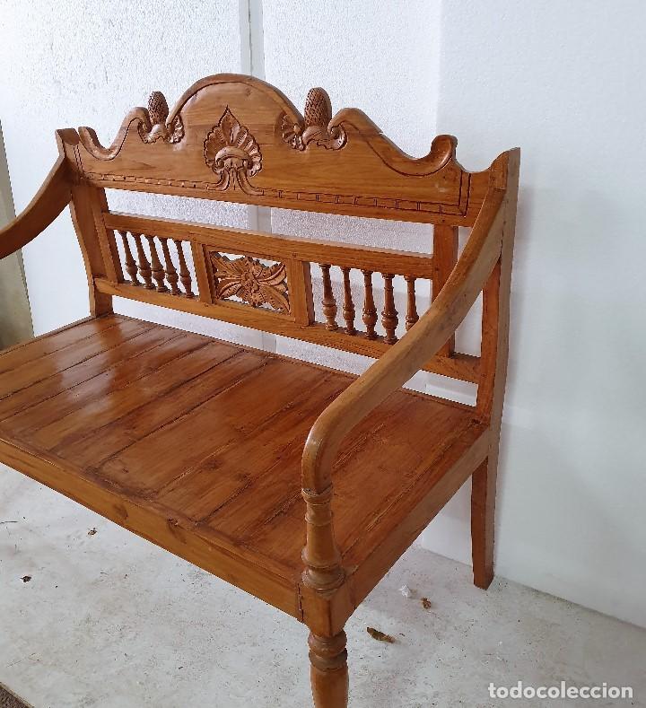 BANCO ESCAÑO SOFA TALLADO (Antigüedades - Muebles Antiguos - Sofás Antiguos)