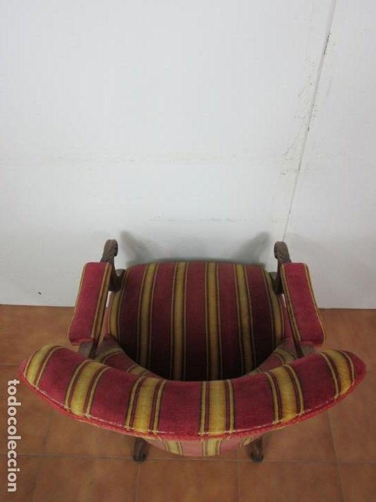 Antigüedades: Pareja de Sillones Isabelinos - Sillón Madera de Caoba - Tapicería Original - S. XIX - Foto 10 - 193825651