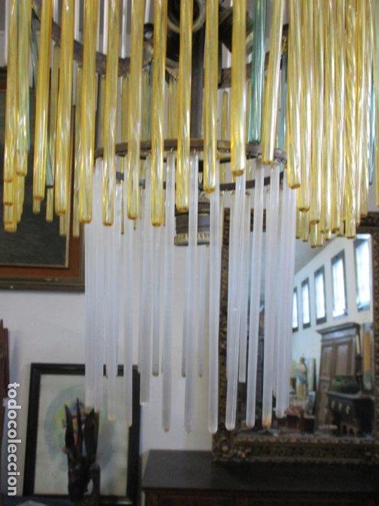 Antigüedades: Preciosa Lámpara de Techo - Art Decó - 8 Luces - Bronce - Decoración Lagrimas de Cristal - Años 20 - Foto 4 - 193828673