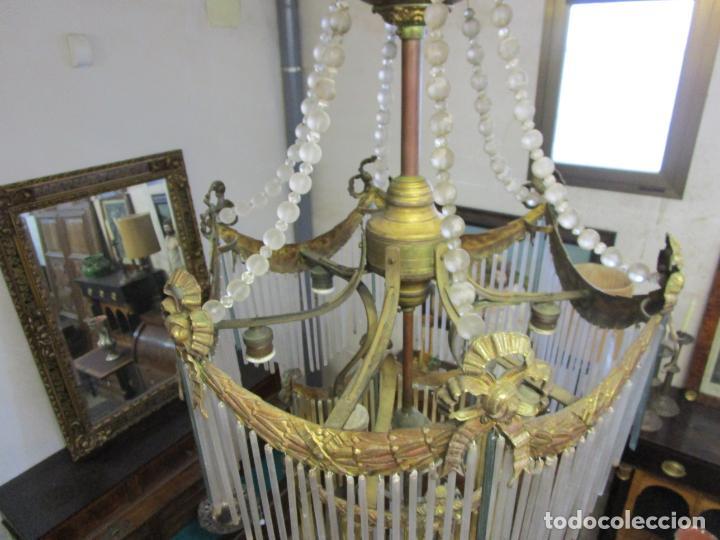 Antigüedades: Preciosa Lámpara de Techo - Art Decó - 8 Luces - Bronce - Decoración Lagrimas de Cristal - Años 20 - Foto 7 - 193828673