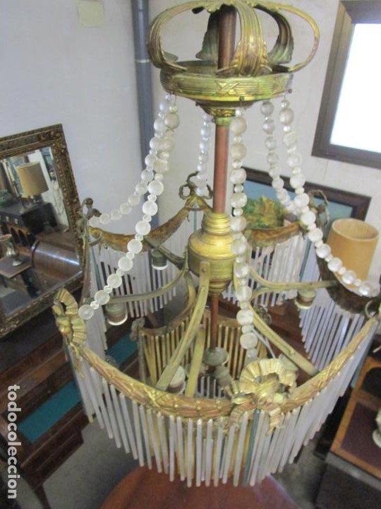 Antigüedades: Preciosa Lámpara de Techo - Art Decó - 8 Luces - Bronce - Decoración Lagrimas de Cristal - Años 20 - Foto 9 - 193828673
