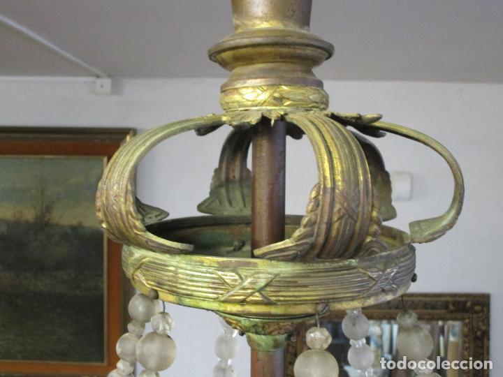 Antigüedades: Preciosa Lámpara de Techo - Art Decó - 8 Luces - Bronce - Decoración Lagrimas de Cristal - Años 20 - Foto 18 - 193828673