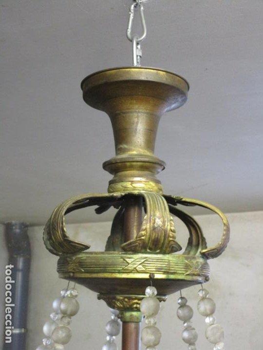 Antigüedades: Preciosa Lámpara de Techo - Art Decó - 8 Luces - Bronce - Decoración Lagrimas de Cristal - Años 20 - Foto 19 - 193828673