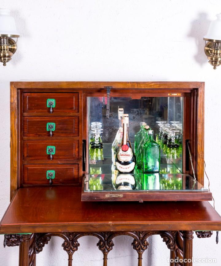 Antigüedades: Bargueño Mueble Bar Antiguo - Foto 7 - 193836305