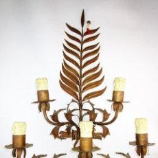 Antigüedades: ENORME ESCULTURA LAMPARA APLIQUE HIERRO FORJA MIDCENTURY HOJAS . Lote 193857043