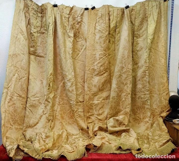 Antigüedades: GRAN CORTINAJE EN BROCADO DE SEDA O VISCOSA. 220X256. ESPAÑA. PRINCIPIO SIGLO XX - Foto 3 - 193901006