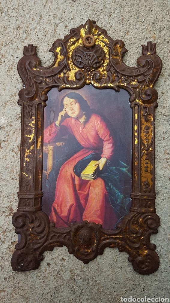 ANTIGUO MARCO HOJALATA (Antigüedades - Hogar y Decoración - Marcos Antiguos)
