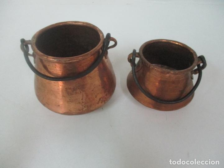 Antigüedades: Pequeñas Ollas - Olla de Cobre - Asa en Hierro - Principios S. XX - Foto 6 - 193902126