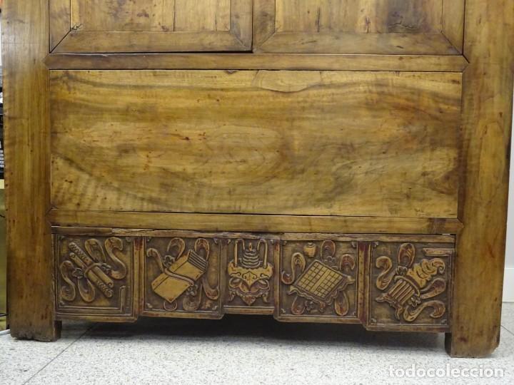 Antigüedades: Armario chino, S.XIX, en madera de olmo y bronce - Foto 7 - 193912053