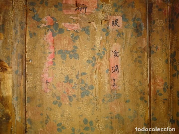 Antigüedades: Armario chino, S.XIX, en madera de olmo y bronce - Foto 33 - 193912053