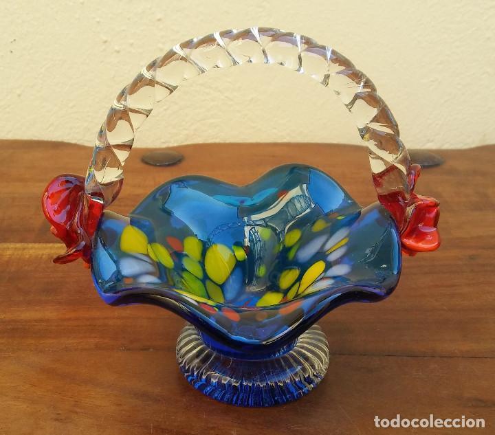 BONITA CESTA O CANASTO DE CRISTAL DE MURANO. PERFECTO ESTADO. (Antigüedades - Cristal y Vidrio - Murano)