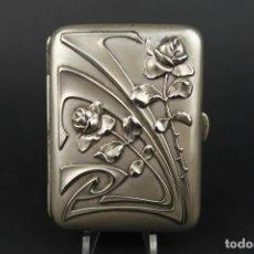 Antigüedades: ANTIGUA PITILLERA DE ALPACA DORADA POR DENTRO ART DECO. Lote 193953722