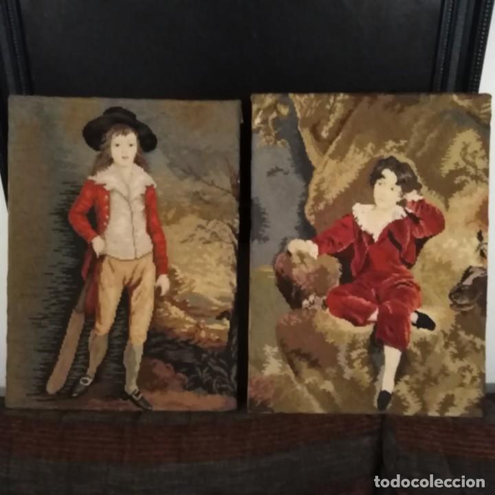 ANTIGUOS CUADROS BORDADOS A MANO DEL SIGLO XIX (Antigüedades - Moda - Bordados)