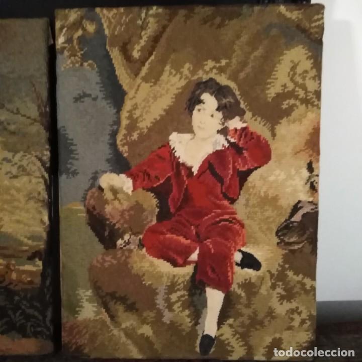 Antigüedades: Antiguos cuadros bordados a mano del siglo xix - Foto 14 - 193957996