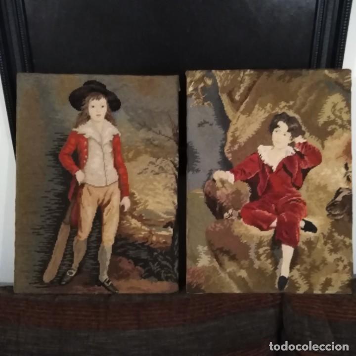 Antigüedades: Antiguos cuadros bordados a mano del siglo xix - Foto 15 - 193957996
