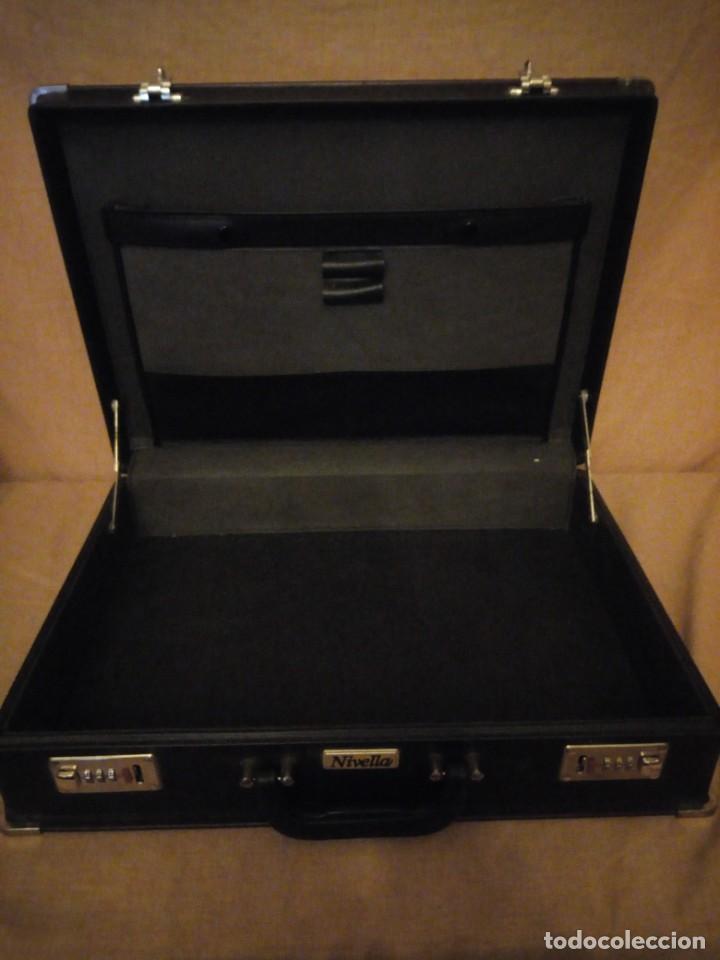 Antigüedades: Antiguo maletín de ejecutivo de cuero rígido Principios del siglo XX,nivella,con cierre de seguridad - Foto 8 - 193971548