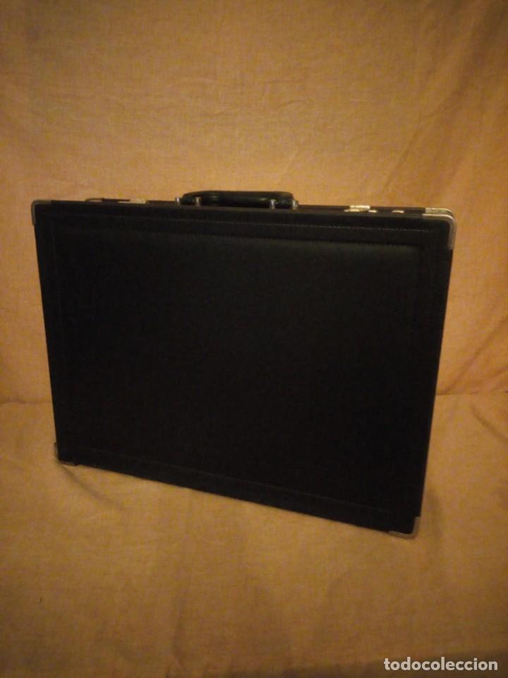 Antigüedades: Antiguo maletín de ejecutivo de cuero rígido Principios del siglo XX,nivella,con cierre de seguridad - Foto 3 - 193971548