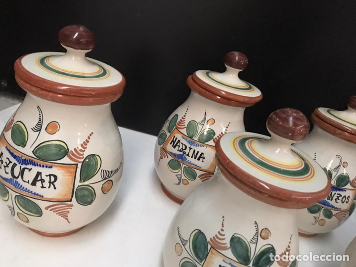 Antigüedades: Lote de tarros de cocina cerámica puente del arzobispo años 70 - Foto 2 - 193975796