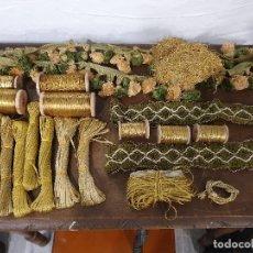 Antigüedades: LOTE HILO FINO ORO CARRETE BOBINA MADEJA HILO ORO. Lote 193981455