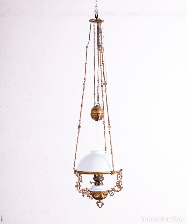 LÁMPARA QUINQUÉ DE TECHO (Antigüedades - Iluminación - Quinqués Antiguos)