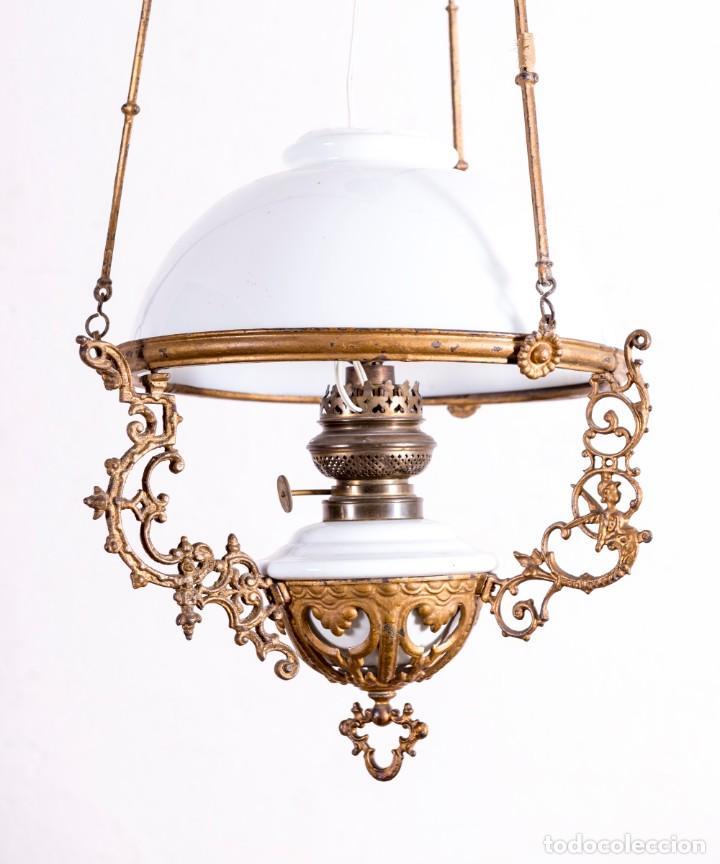 Antigüedades: Lámpara Quinqué De Techo - Foto 2 - 194010478