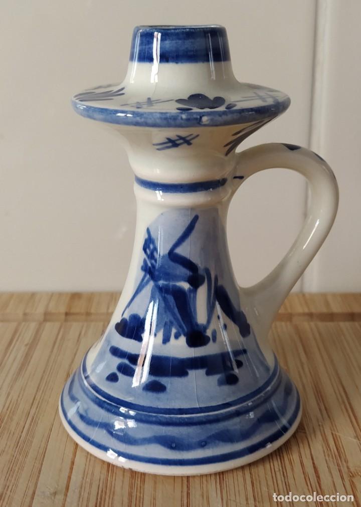 FLORERO PARA SOLO UNA FLOR, ROSA O TULIPÁN ALTURA 11 CM (Antigüedades - Porcelana y Cerámica - Holandesa - Delft)