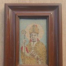 Antigüedades: ANTIGUO CUADRO SAN ANTONIO MARÍA CLARET EN LIENZO TEJIDO JACQUARD. Lote 194064083