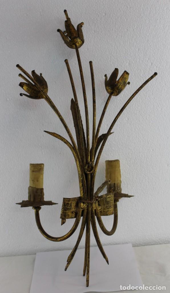 Antigüedades: LÁMPARA APLIQUE DE PARED EN METAL DORADO CON TULIPANES DE PRINCIPIOS DEL SIGLO XX - Foto 6 - 194073701