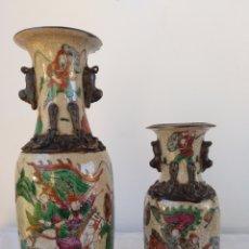 Antigüedades: LOTE 2 JARRONES PORCELANA VIDRIADA NANJING. Lote 194081105