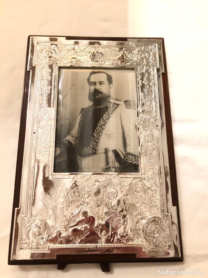 Antigüedades: Portafotos Art Deco, plateado y madera 27 x 18 cm - Foto 2 - 194081570