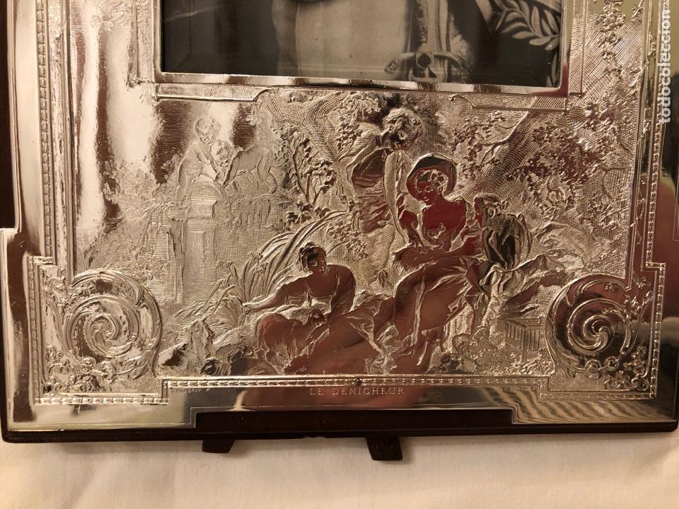 Antigüedades: Portafotos Art Deco, plateado y madera 27 x 18 cm - Foto 4 - 194081570